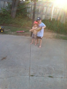 My sons in the same backyard